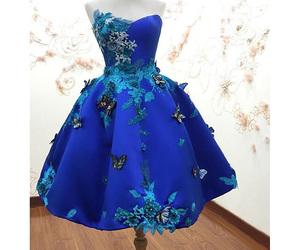 blue, butterfly, and dress image