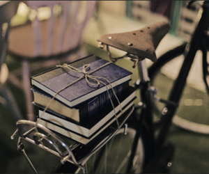 book, bike, and photography image