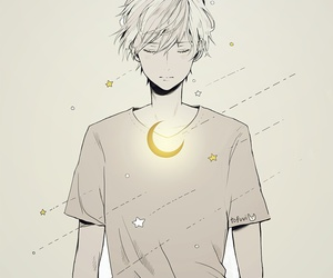 anime, boy, and moon image