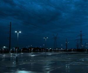 city, rain, and sky image