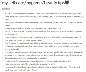 hoe, beauty tips, and self care image