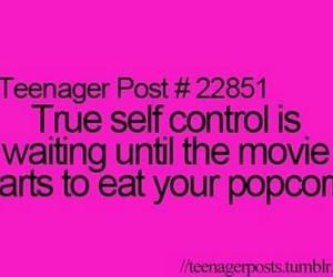 popcorn, movie, and self control image