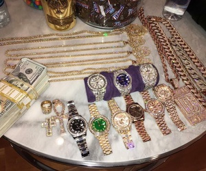 bling, cash, and chains image