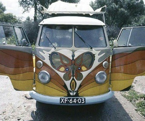 bohemian, bus, and hippie image