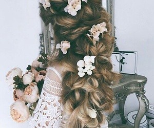 flowers, beautiful, and hair image