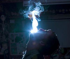 smoke, boy, and light image