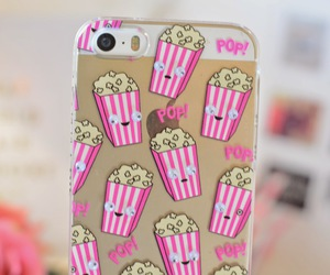 iphone, case, and popcorn image