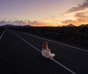 girl, landscape, and pink image