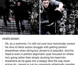 dean winchester, diving, and Jensen Ackles image