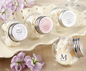 anniversary, personalized favors, and glass jar image