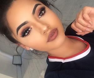 brunette, eyelashes, and eyeshadow image