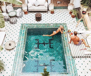 pool, summer, and couple image