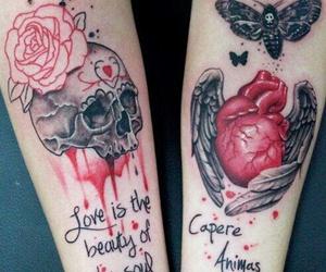 tattoo, heart, and skull image