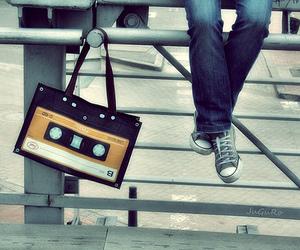 bag, cassette tape, and chucks image