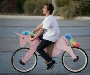 unicorn, bike, and boy image