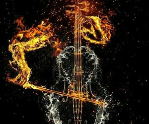 fire, music, and cello image