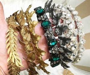 crowns, emerald, and gold image