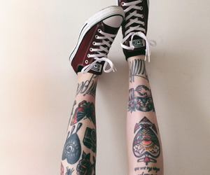 tattoo, converse, and legs image