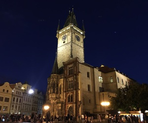 castle, night, and prague image