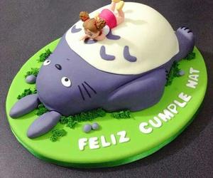cake, totoro, and studio ghibli image