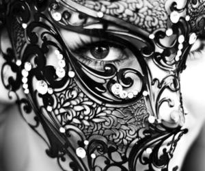 mask, black and white, and masquerade image