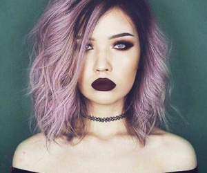 hair, makeup, and purple image