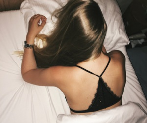bed, black, and blonde image