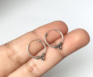 etsy, silver hoops, and boho earrings image