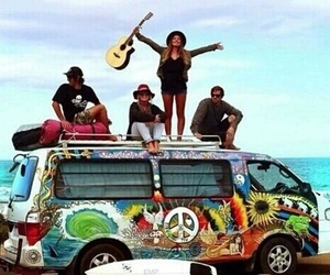 friends, hippie, and guitar image