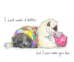 dog, tea, and pug image