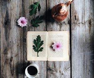 book, flowers, and drink image