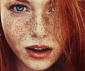 girl, freckles, and red image