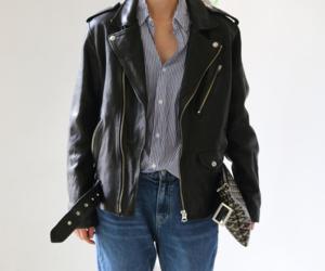 fashion, leather jacket, and style image