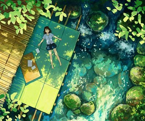 anime, nature, and green image