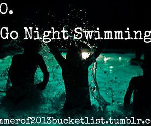 swimming, night, and bucket list image