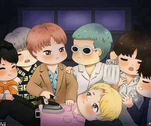 fire, bts, and chibi image
