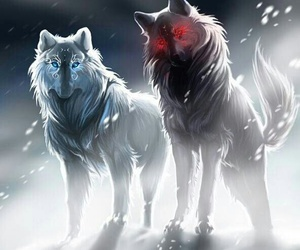 wolf, off-white, and red image