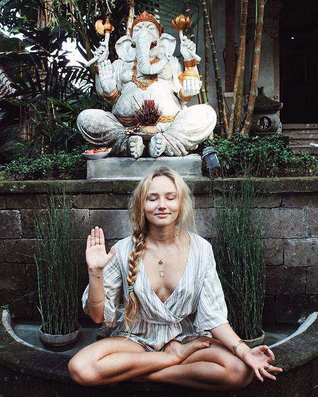 girl, blonde, and yoga image