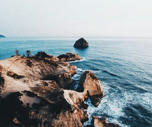 cliff, nature, and ocean image