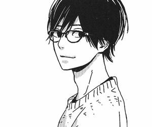 manga, monochrome, and orange image