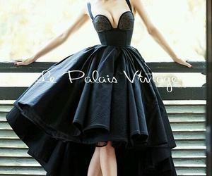 black, black dress, and fashion image