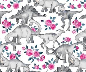 dinosaur, pattern, and rose image