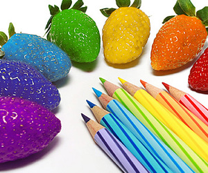 rainbow, strawberry, and pencil image