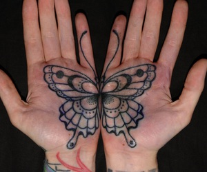 tattoo, butterfly, and hands image