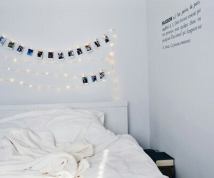 room, white, and bed image