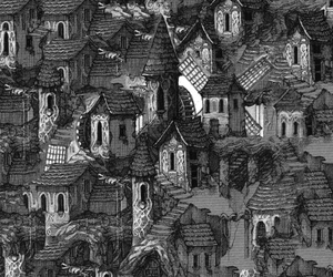 background, black and white, and house image