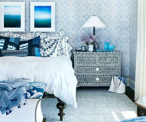 bedroom, blue, and design image