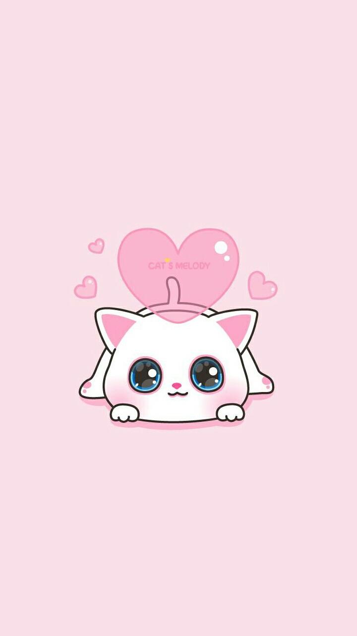 Animals Art Baby Cat Background Beautiful Beauty Cartoon Cat Colorful Cute Baby Cute Cat Drawing Hearts Illustration Iphone Kawaii Kitty Pastel Pretty Wallpaper Wallpapers We Heart It Pink Background Art Cat Beautiful