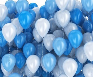 blue, balloons, and white image
