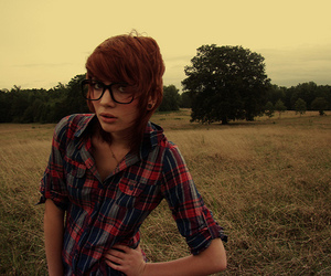 glasses, plaid, and indie image